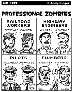 Professional Zombies black and white by Andy Singer