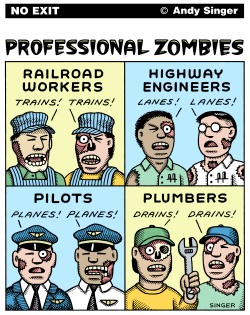 Professional Zombies color version by Andy Singer