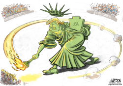 Xenophobic Trump Statue of Liberty- by RJ Matson