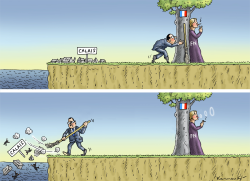 Francois Hollande is cleaning in Calais by Marian Kamensky
