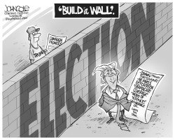 Trump's new wall BW by John Cole