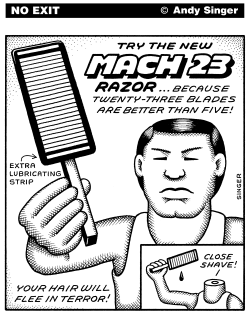 Mach 23 Razor black and white version by Andy Singer