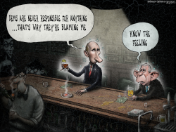 Putin Hacking Bush Bar Russia  by Sean Delonas