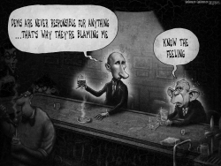 Putin Hacking Bush Bar Russia Greyscale by Sean Delonas
