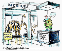 Snow shoveling kids  by Dave Granlund