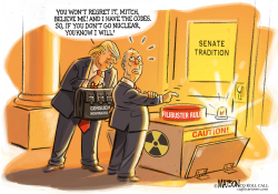 Senator Mitch McConnell Has His Finger On The Button- by RJ Matson
