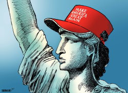 Lady Liberty with Trump Cap by Sabir Nazar