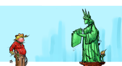 Trump vs Lady liberty by Emad Hajjaj