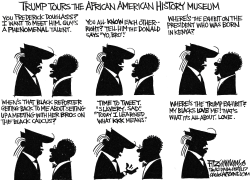 Trump tours a museum by David Fitzsimmons