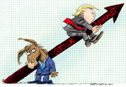 Trump Rides the Stock Market Up by Daryl Cagle