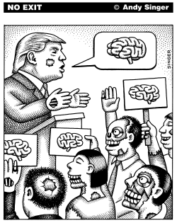 Zombie Trump black and white version by Andy Singer