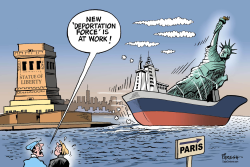 Deporting Lady Liberty by Paresh Nath