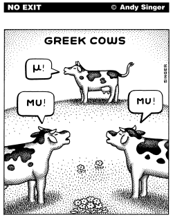 Greek Cows black and white version by Andy Singer