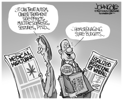 Leaglized pot and state budgets BW by John Cole