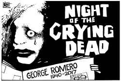 GEORGE ROMERO, RIP, b/w by Randy Bish