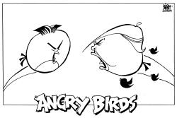 ANGRY BIRDS WITH NUKES, B/W by Randy Bish