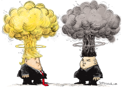 Trump and Kim Mushroom Heads by Daryl Cagle