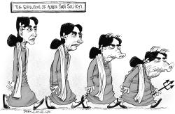 Evolution of Aung San Suu Kyi by Daryl Cagle