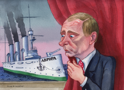 Putin and Cruiser Aurora by Alla and Chavdar