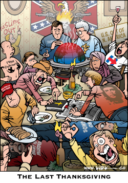 Thanksgiving Dinner Politics by Kirk Anderson