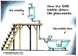GOP trickle-down tax plan by Dave Granlund