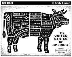 Butcher Diagram of USA by Andy Singer