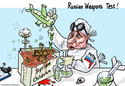 Russian weapons test by Emad Hajjaj