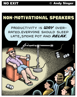Non Motivational Speakers color version by Andy Singer
