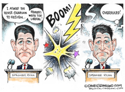 Paul Ryan vs House Chaplain by Dave Granlund