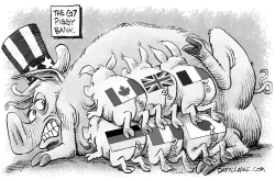 The G7 Piggy Bank by Daryl Cagle
