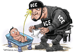 ICE pee by Daryl Cagle
