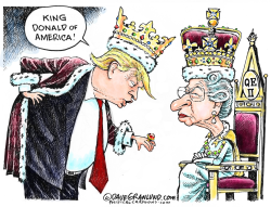 Trump meeting Queen Elizabeth II by Dave Granlund