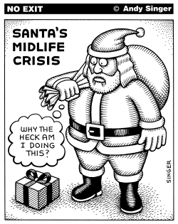 Santa Claus Midlife Crisis by Andy Singer