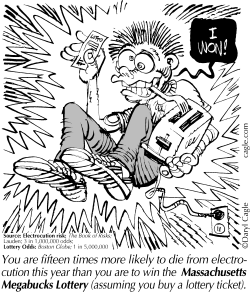 TRUE Lotto Electrocution by Daryl Cagle