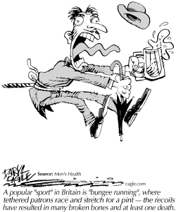TRUE - British Bungee Beer by Daryl Cagle