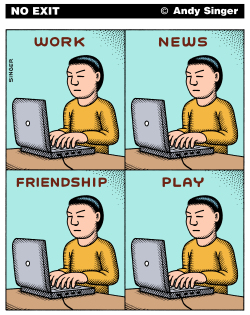 Work News Friendship Play color version by Andy Singer