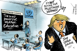 Trump halts funding for UNRWA by Patrick Chappatte