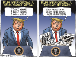 Trump Mocking Blasey Ford by Kevin Siers