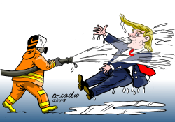 Firemen and Trump by Arcadio Esquivel