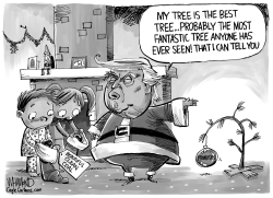 Trump and the Charlie Brown Christmas tree by Dave Whamond