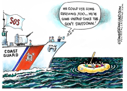 USCG unpaid during shutdown by Dave Granlund