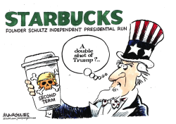 Starbucks founder Howard Schultz for President by Jimmy Margulies