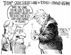 Trump signs Bibles by John Darkow