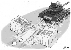 Guns and Butter Trump Budget by RJ Matson
