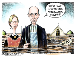 Midwest flooding and farmers by Dave Granlund