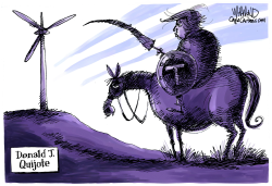 Donald Quijote attacks windmills by Dave Whamond