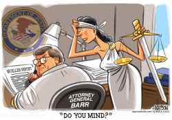 Lady Justice Tries to Read Mueller Report by RJ Matson