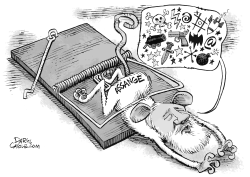 Julian Assange Rat Trap by Daryl Cagle