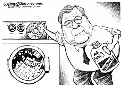 Mueller Report spin by AG Barr by Dave Granlund