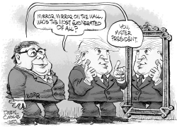 Trump Mirror and Barr by Daryl Cagle